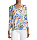 3 4 Sleeve Floral Print Blouse