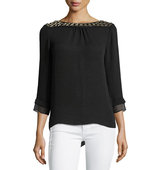 3 4 Sleeve Georgette Blouse w Embellished Collar