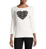 3 4 Sleeve Lace Heart Sweater