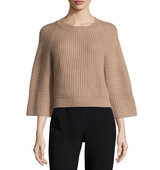 3 4 Sleeve Ribbed Knit Sweater