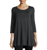 3 4 Sleeve Scoop Neck Swing Tunic
