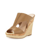 Abacus Cutout Leather Wedge Sandal