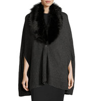 Alex Poncho w Removable Faux Fur