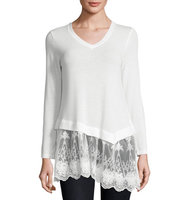 Asymmetric Lace Trim Tunic