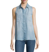 Carol Sleeveless Button Front Blouse