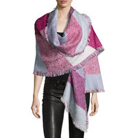 Colorblock Asymmetric Knit Wrap