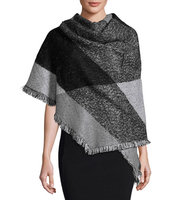 Colorblock Wrap with Fringe Trim