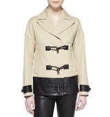 Cropped Toggle Front Leather Trim Coat