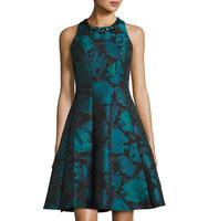 Embellished Floral Jacquard Dress