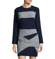 Faux Wrap Paneled Knit Dress