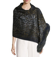 Fox Fur Trim Leopard Print Knit Wrap
