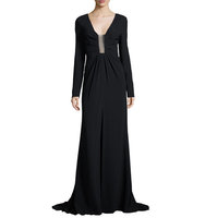 Long Sleeve Sheer Inset Gown