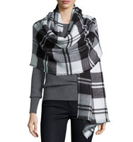 Plaid Fringe Knit Wrap