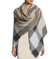 Plaid Print Square Wrap with Fringe Trim