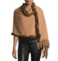Rabbit Fur Trim Wool Wrap