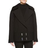 Sheepskin Collar Double Breasted Pea Coat