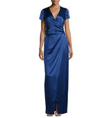 Short Sleeve Faux Wrap Gown