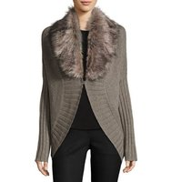 Sophie Cape Cardigan with Faux Fur Trim