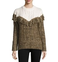 Two Tone Fringed Pullover Sweater