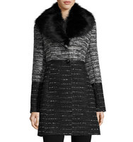 Wool Blend Coat with Removable Faux Fur Collar