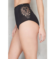 Black Side Crochet Insert High Waist Bottoms
