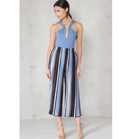 Blue Camel White Stripe Print Pleated Satin Culottes