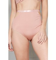 Dusky Rose Cut Out High Waist Bikini Bottoms
