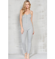 Grey Marl Rib Jersey Hook Eye Front Catsuit