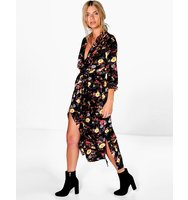 Boohoo Floral Printed Maxi Shirt Dress