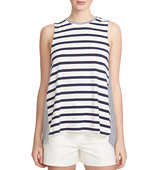1 State Mixed Stripe Split Back Top
