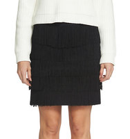 1 State Ponte Tiered and Fringed Mini Skirt