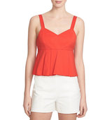1 State Stretch Cotton Sweetheart Peplum Top