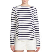 1 State Striped Split Back Jersey Top
