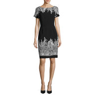 Adrianna Papell Petite Border Print Sheath Dress