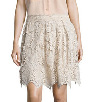 Anna Sui Flared Pleated Lace Skirt