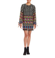 Anna Sui Mixed Pattern Long Sleeved Dress