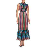 Anna Sui Multi Print Floral and Striped Maxi Dress