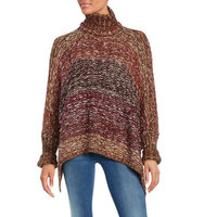 Design Lab Lord and Taylor Knit Turtleneck Poncho
