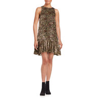 Erin Fetherston Velvet Floral Print Sleeveless Ruffled Shift Dress