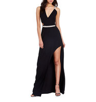 Halston Heritage Front Slit Belted Gown