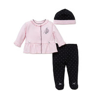 Little Me Three Piece Cherry Top Footed Pants and Hat Set