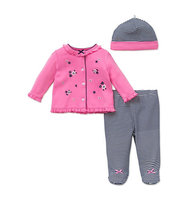 Little Me Three Piece Daisy Top Footed Pants and Hat Set
