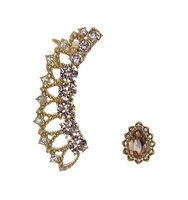 Marchesa Multihued Glass Crystal Crawler and Stud Earrings Set