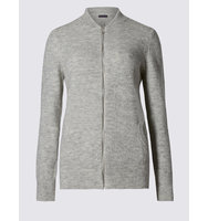 Ms Collection Long Sleeve Spongy Bomber Cardigan
