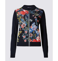 Ms Collection Multi Floral Print Bomber Cardigan