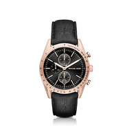 Accelerator Rose Gold Tone And Leather Watch