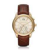 Aiden Gold Tone and Leather Watch