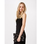 Miss Selfridge Womens BLACK 3D FLOWER CLUTCH Black