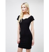 Miss Selfridge Womens Black Scallop Bodycon Dress Black