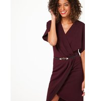 Miss Selfridge Womens Burgundy Belted Wrap Dress Burgundy